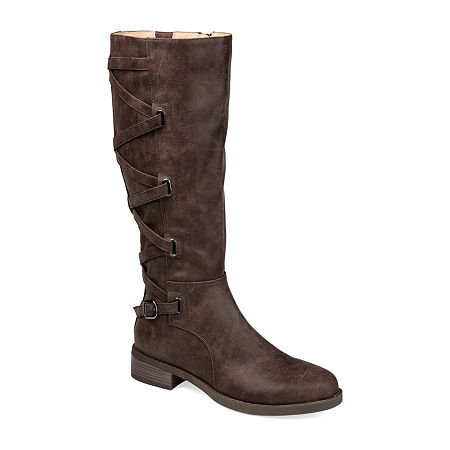 Journee Collection Womens Carly Riding Boots Stacked Heel, 6 1/2 Medium, Brown