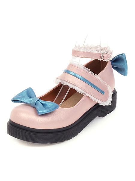 Milanoo Sweet Lolita Footwear Pink Bow Lace Redondo Toe PU Cuero Lolita Pumps