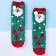 Christmas Santa Claus Pattern Fuzzy Socks