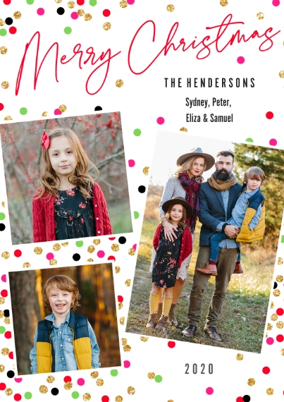 Christmas Photo Cards 5x7 Cards, Premium Cardstock 120lb with Elegant Corners, Card & Stationery -Confetti Collage