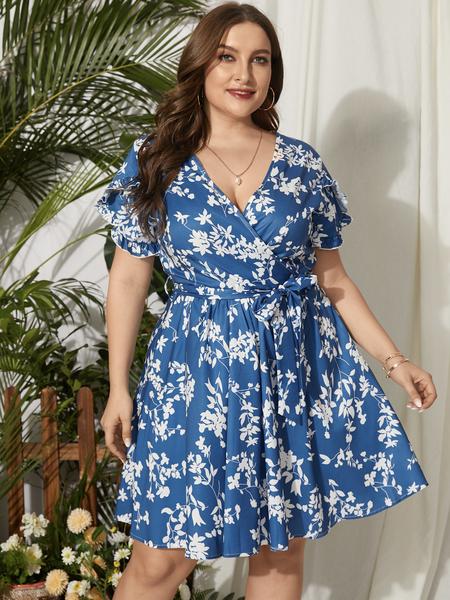 Yoins Plus Size V-neck Floral Print Belt Design Wrap Design Short Sleeves Dress