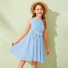 Girls 3D Appliques Detail Flare Dress