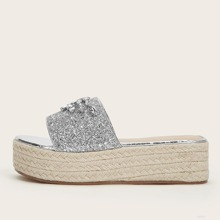 Rhinestone & Glitter Decor Wedge Mules