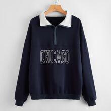 Sweatshirt mit Reissverschlussleiste und Buchstaben Grafik