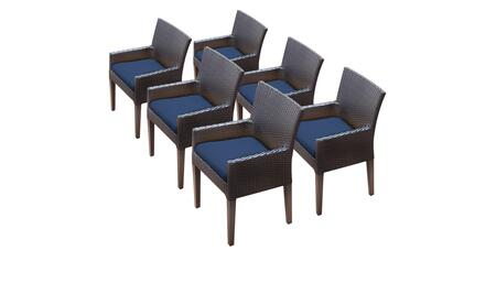 Barbados Collection BARBADOS-TKC097b-DC-3x-C-NAVY 6 Dining Chairs With Arms - Wheat and Navy