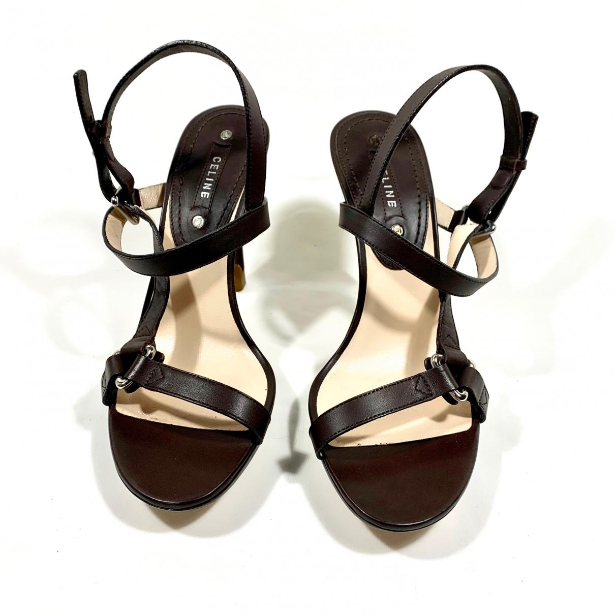 Celine \N Brown Leather Sandals for Women 38.5 EU