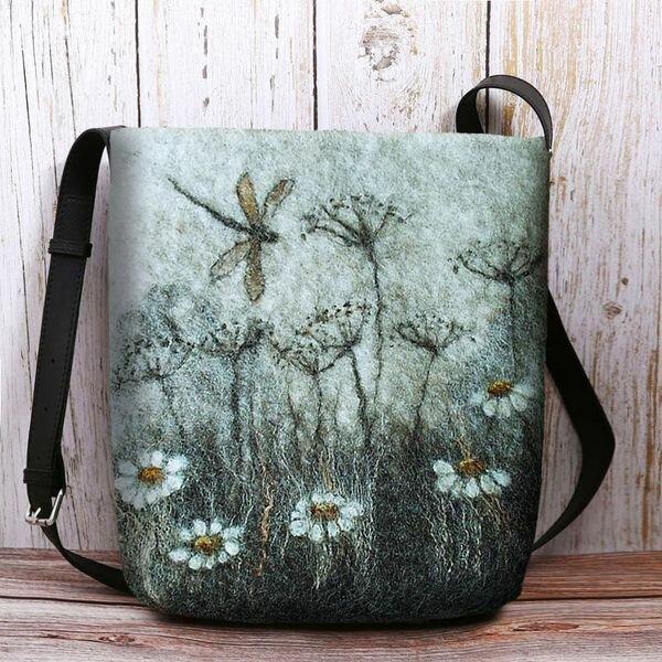 Women Colorful DIY Flower Lamb Hair Bag Crossbody Bag