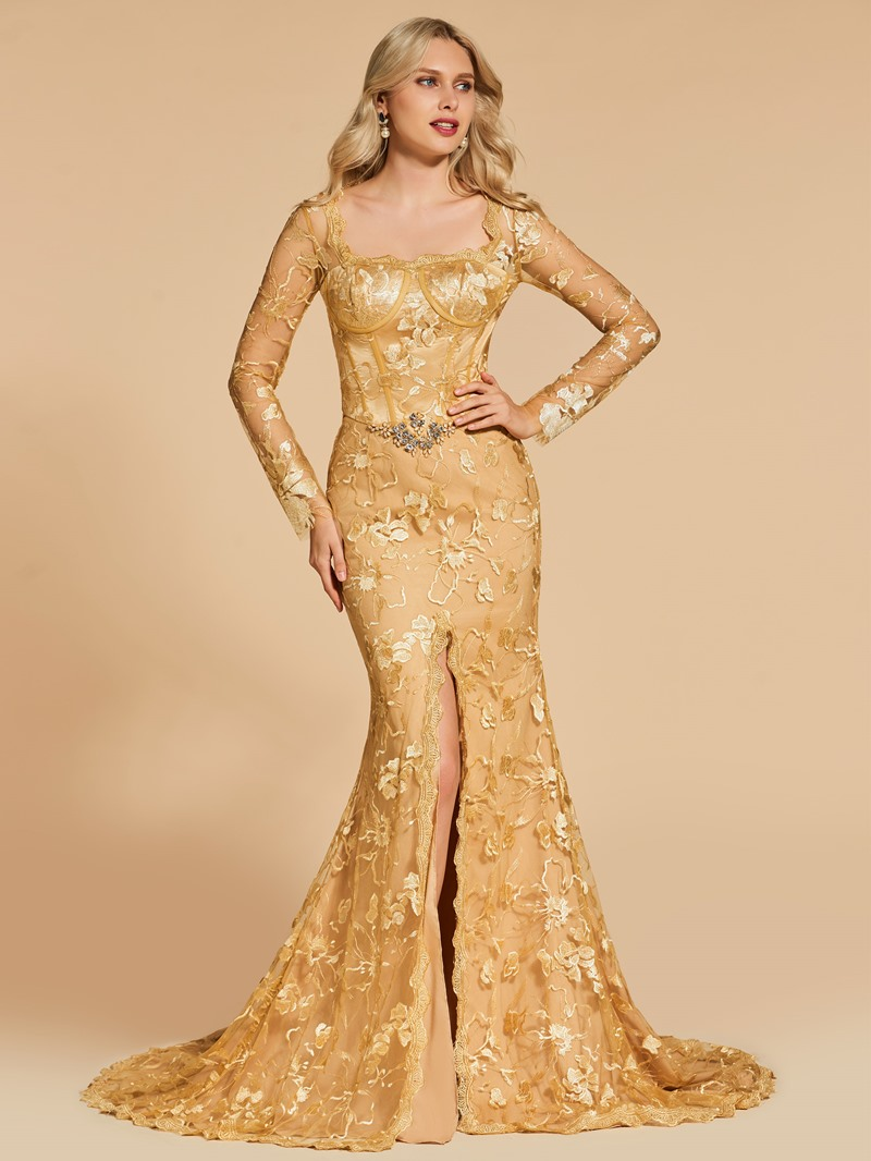 Ericdress Square Neck Lace Mermaid Long Sleeve Evening Dress