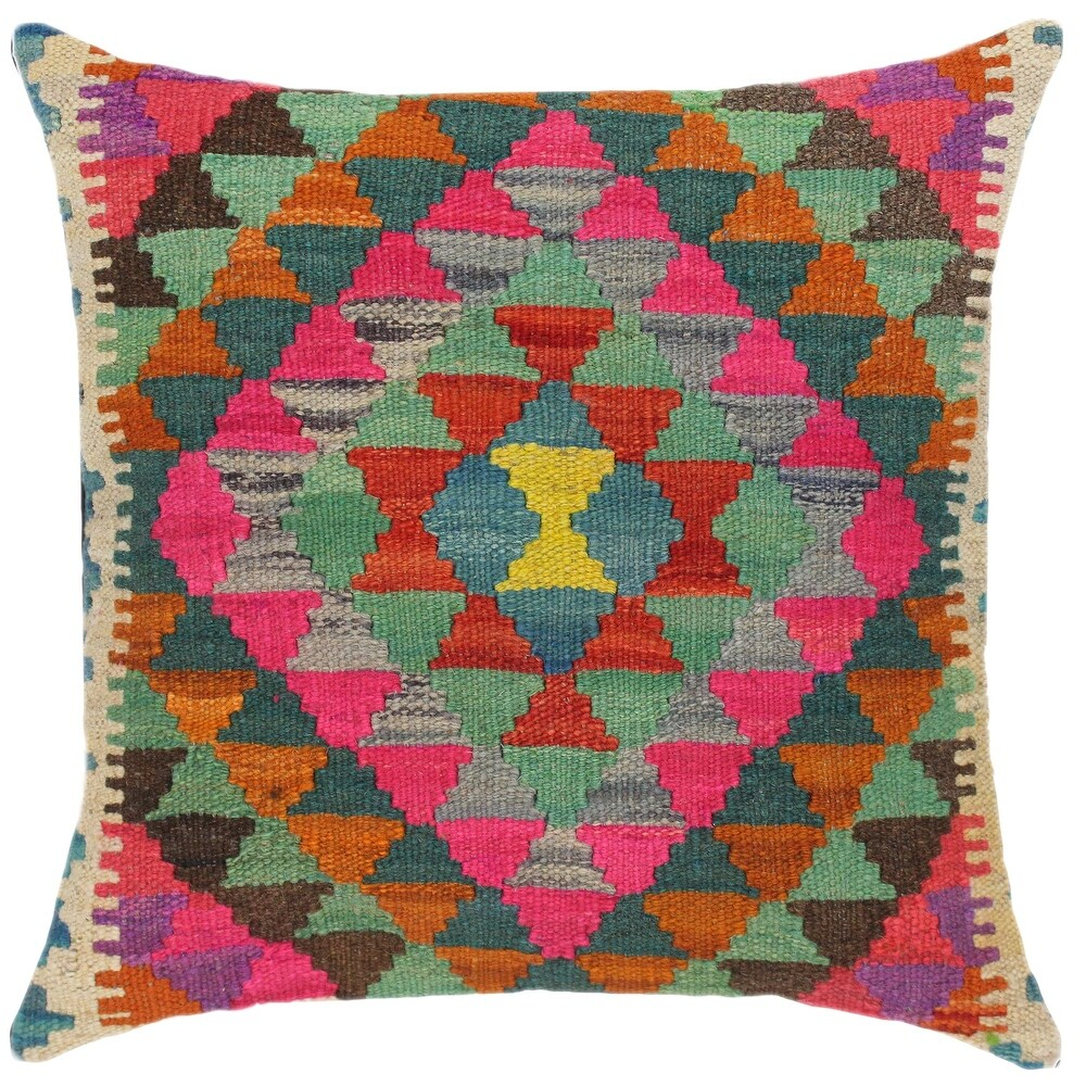Rustic Kymberly Hand-Woven Turkish Kilim Throw Pillow (Accent - 18 in. x 19 in. - Polyester - Blue - Single)