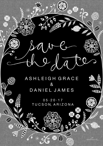 Save the Date 5x7 Cards, Premium Cardstock 120lb with Elegant Corners, Card & Stationery -Save the Date Floral Linework