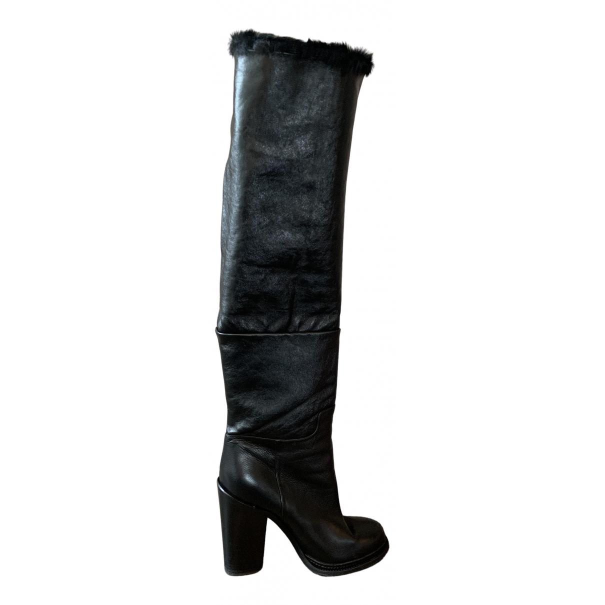 Dolce & Gabbana N Black Mongolian Lamb Boots for Women 39 EU