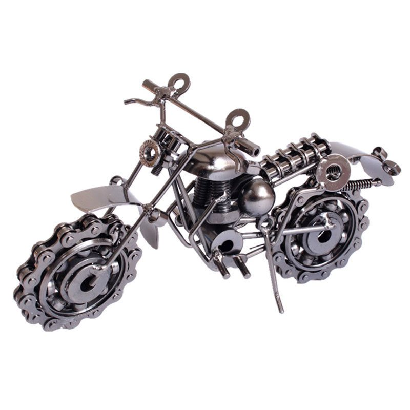 Exquisite Retro Classic Stainless Steel Metal Material Harley Motorcycle Model Metal Handicrafts Desktop Decorations Or Car Decorations