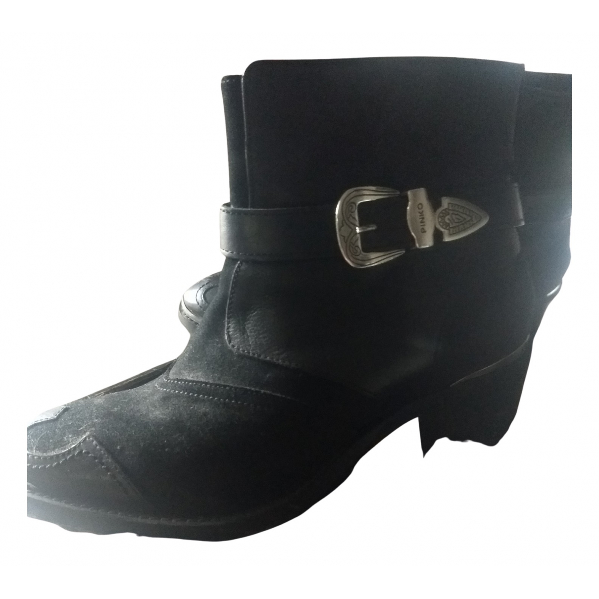 Pinko N Black Leather Ankle boots for Women 38 EU