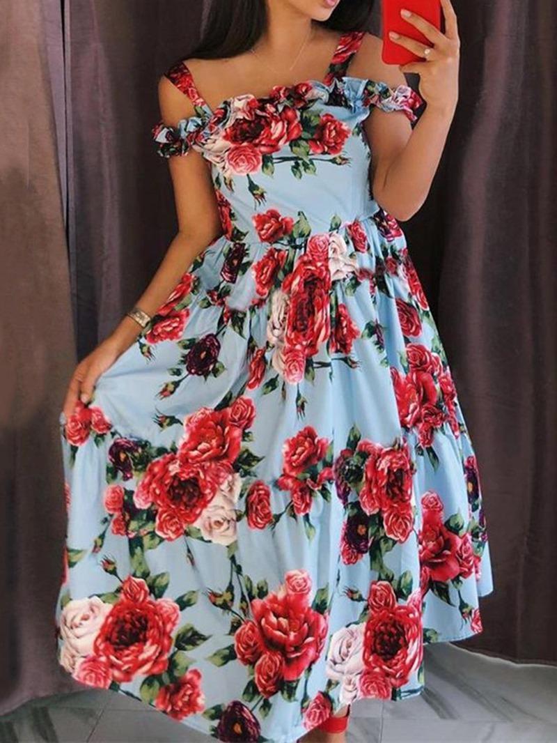 Ericdress Short Sleeve Stringy Mid-Calf Sweet High Waist Women's Dress