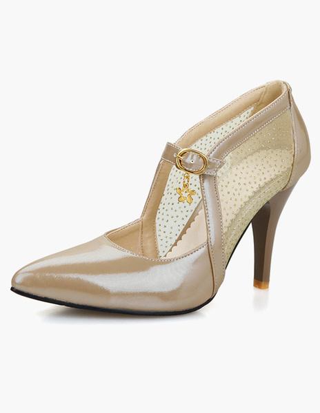 Milanoo Cuero de la PU de tacon atractivo señalo Toe zapatos de tacon alto para las mujeres