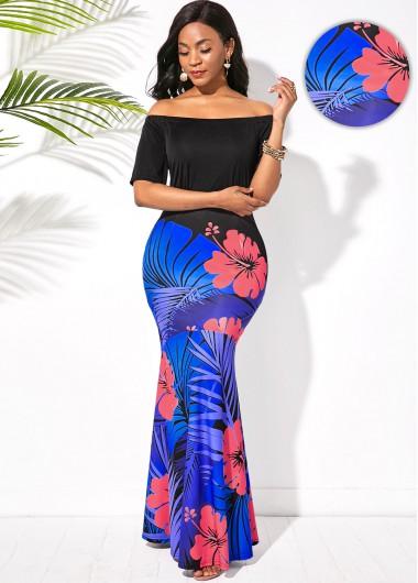 Rosewe Women Black Off The Shoulder Floral Printed Mermaid Hem Maxi Evening Party Dress Short Sleeve Sheath Elegant Wedding Guest Dress - XS