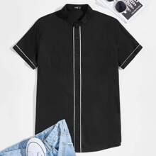 Men Contrast Tipping Detail Shirt