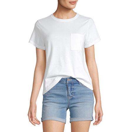 Arizona Juniors-Womens Crew Neck Short Sleeve T-Shirt, X-large , White