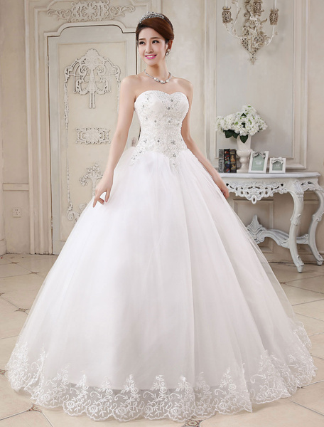 Milanoo Princess Wedding Dresses Ivory Ball Gown Bridal Dress Strapless Sweetheart Neck Lace Beaded Pleated Wedding Gown