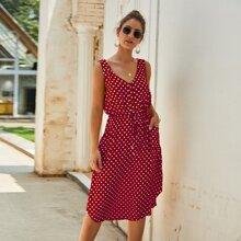 Kleid mit Punkten Muster, doppelten Taschen und Kordelzug