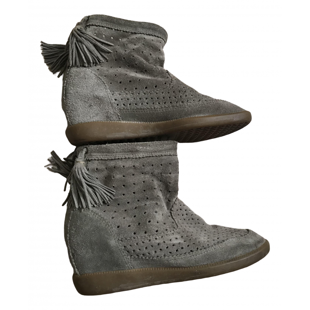 Isabel Marant Basley Beige Suede Ankle boots for Women 36 EU