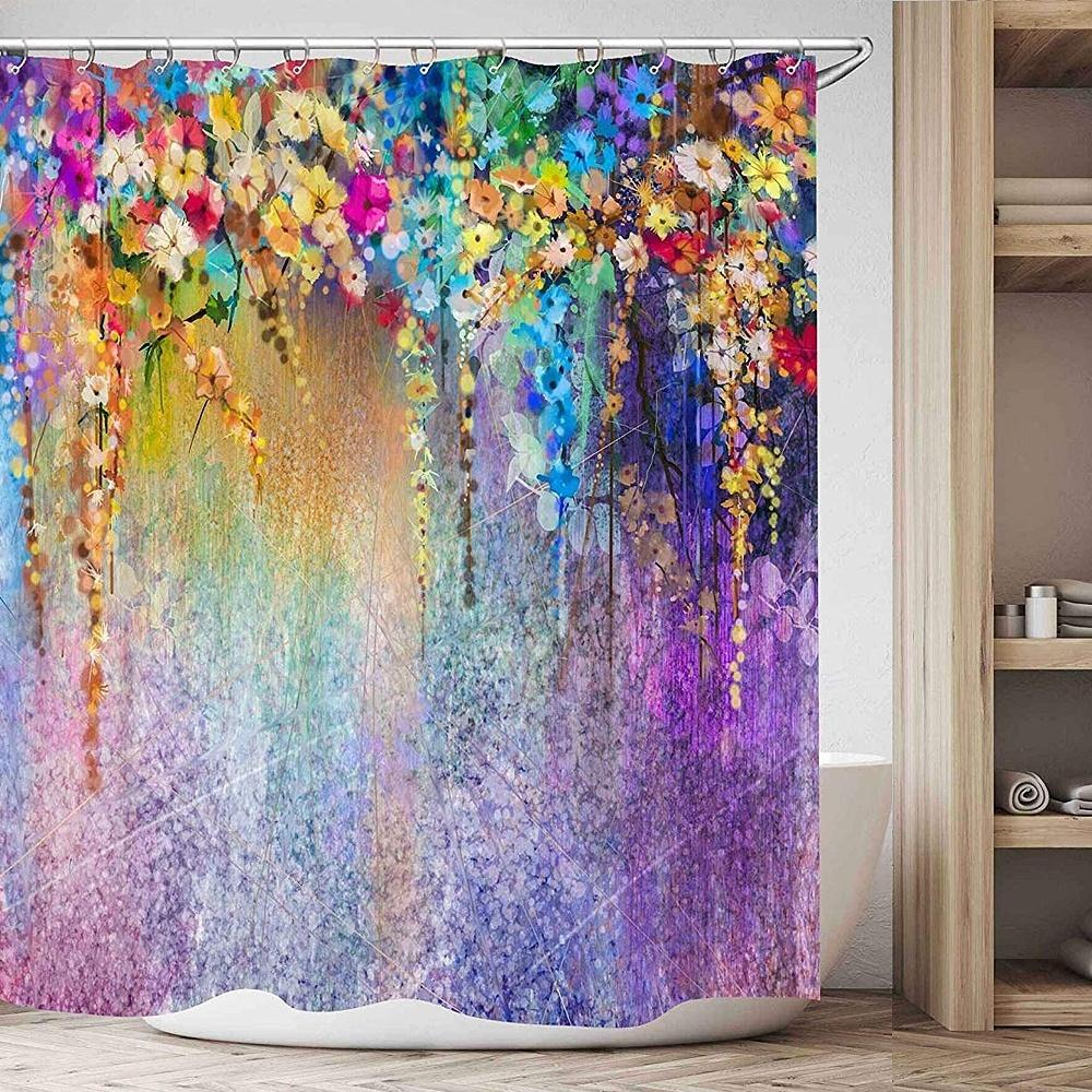 Watercolor Bathroom Decor Shower Curtain Colorful Flowers Pattern Waterproof Polyester Fabric Bathroom Shower Curtains
