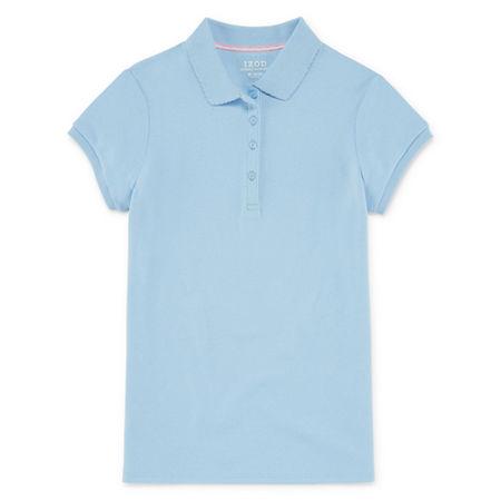 IZOD Little & Big Girls Short Sleeve Stretch Polo Shirt, 14-16 , Blue