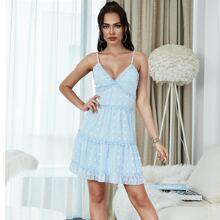 Eilly Bazar Sommerkleid mit Rueschenbesatz, Raffungsaum und Punkten Muster