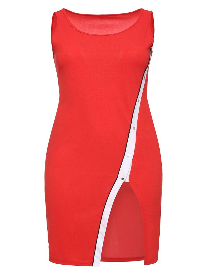 Ericdress Backless Rivet Split Asymmetrical Bodycon Dress