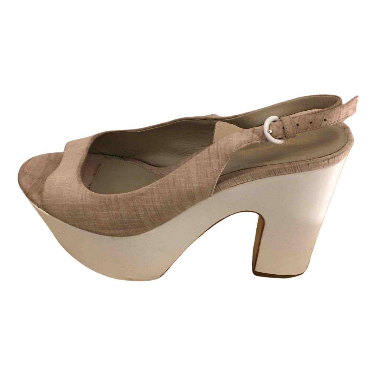 Sergio Rossi N Beige Cloth Sandals for Women 37 EU