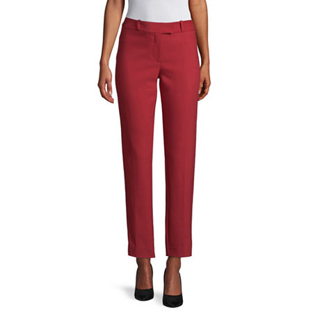 Liz Claiborne Womens Mid Rise Regular Fit Ankle Pant, 12 , Red
