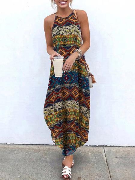 Milanoo Boho Maxi Dress Women Sleeveless Printed Long Dress