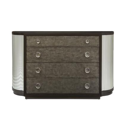 D199-101 Modern Leather and Mirrored Front