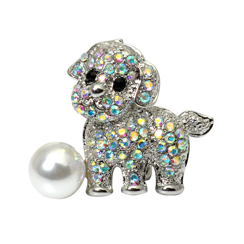 Trendy Cute Brooches Puppy Pet Dog Brooches Silver Pearl Rhinestone Dress Accessories for Women