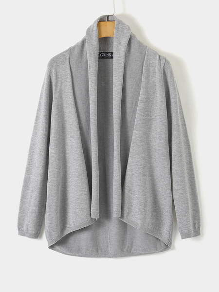 Yoins Grey Oversized Cardigan in Fine Knit