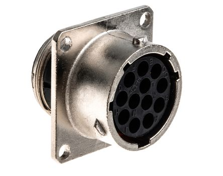 Souriau , UTO 12 Way Wall Mount MIL Spec Circular Connector Receptacle, Socket Contacts,Shell Size 14, Bayonet Coupling