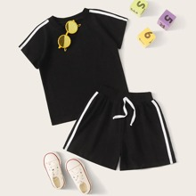 Toddler Boys Tape Side Tee & Track Shorts