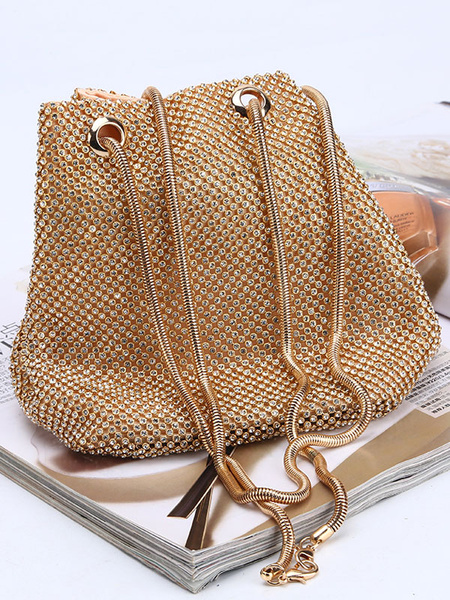 Milanoo Evening Clutch Bags Rhinestone Beaded Bucket Bags Women\\'s Double Handle Straps Special Occasion Accessories