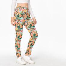 Floral & Bird Print Skinny Jeans