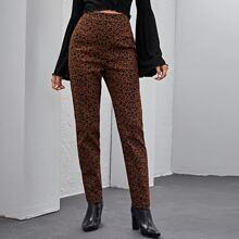 Pantalones de leopardo de cintura alta