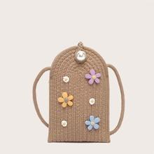 Floral Applique Woven Crossbody Bag