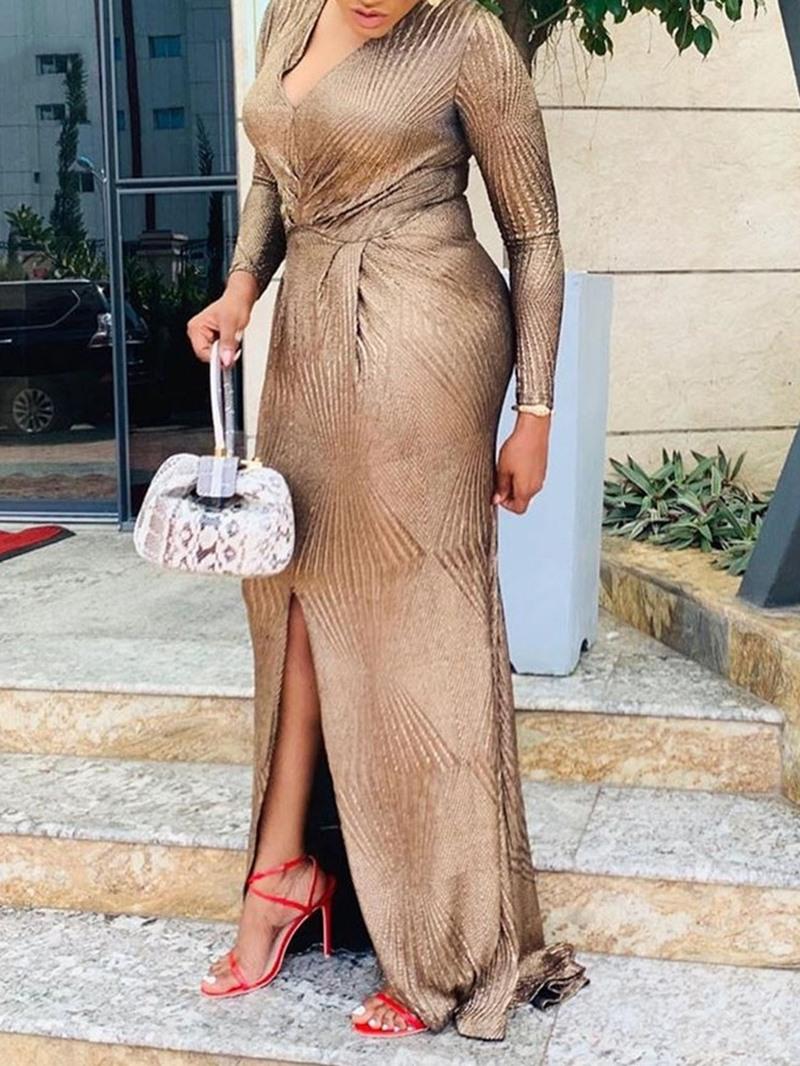 Ericdress Plus Size Split Nine Points Sleeve Floor-Length Bodycon High Waist Dress