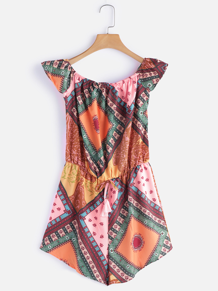 Yoins Random Print Off Shoulder Drawstring Waist Playsuits