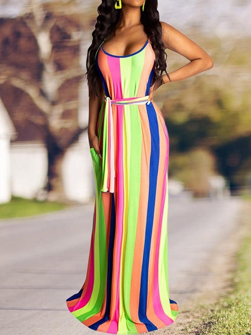 Ericdress Pocket Striped Sleeveless Floor-Length Spaghetti Strap Dress