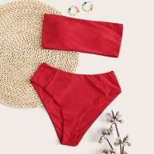 Bandeau High Waisted Bikini Swimsuit