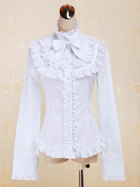 Milanoo White Cotton Lolita Blouse Long Sleeves Stand Collar Lace Trim Ruffles Bow
