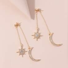 Star & Moon Chain Drop Earrings
