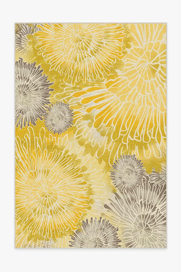 Washable Rug Cover | Chrysanthemum Yellow Rug | Stain-Resistant | Ruggable | 6'x9'