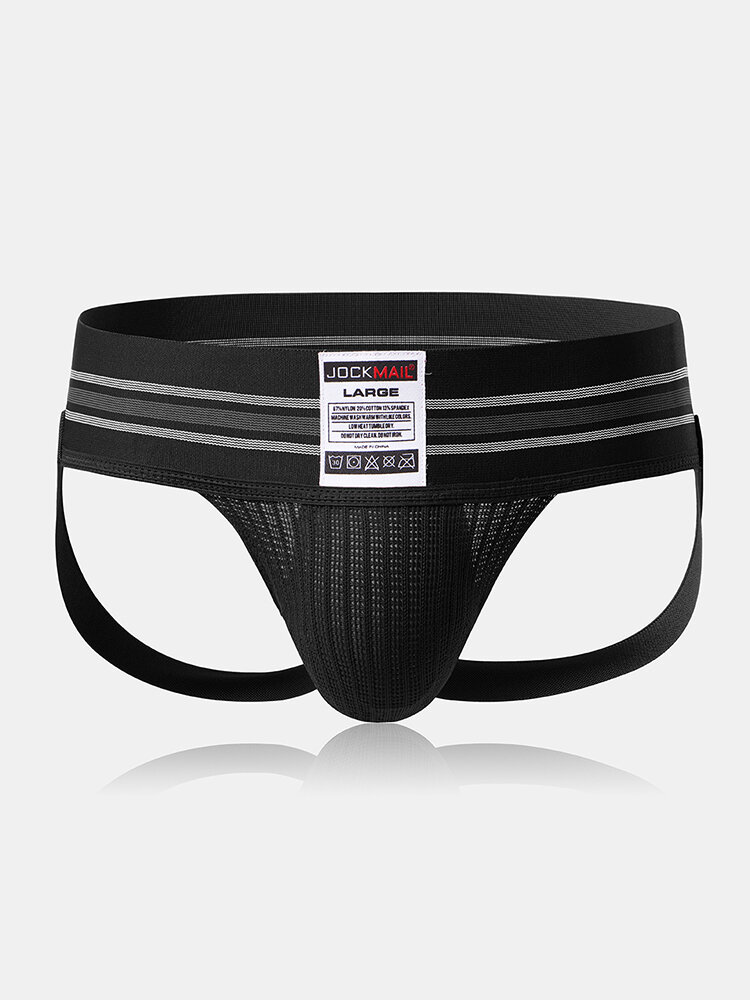 Men Sexy Butt Lifting Widen Belt G-String Crotchless Jockstrap Breathable Cotton Thongs