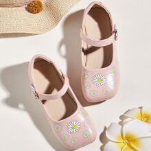 Kleinkind Maedchen Mary Jane Flache Schuhe mit Blumen Grafik